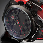 SHARK Military LED Day Date Analog Leather Band Sport Quartz Men's Watch 4 Color