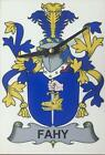 Your COAT OF ARMS Crest on stylish Wooden CLOCK - HANNON to HARTIGAN