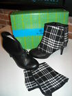 Hot in Hollywood Black Leather Ankle Boots & Plaid Spats New