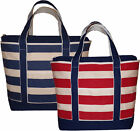 Large Striped Canvas Shopping, Baby, Beach Bag, Boat Tote