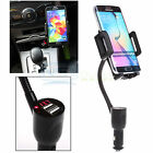 Dual USB Port Car Cigarette Lighter LED Charger Mount Holder For Samsung iPhone