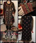 Pakistani Black & Copper Chiffon Gown Style Suit With Threadwork & Pearls, 4-pc