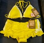 $166 JUICY COUTURE RUFFLE SKIRT TRIANGLE BIKINI SWIMSUIT GRAPEFRUIT YELLOW NWT 7