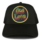 RGY, One Love Rasta Embroidered Iron on Circle Patch Adjustable Trucker Cap