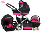 Baby Pram Newborn Car Seat 3in1 Buggy Pushchair Stroller Carrycot Travel System  <br/> FORWARD&amp;REAR FACING MODE,DIAPER BAG,RAIN COVER FREEBIES