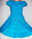 GIRLS TURQUOISE LACE TRIM BOHO GYPSY PEASANT TIERED COTTON CASUAL PARTY DRESS