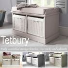 Tetbury Bench with 2 White Baskets. Hallway storage bench with cushion.4 colours