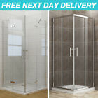 Shower Enclosure Corner Entry Frameless Pivot/Sliding Door + Tray Glass Cubicle