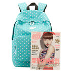 Women Girls Cute Dots Pattern Oxford Fabric School Ruckasck Travel Backpack US