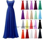 Long Chiffon Lace Evening Formal Party Ball Gown Prom Bridesmaid Dress Size 6~22