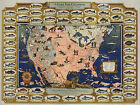 1947 Pictorial Map The Game Fish Cyclopedia Fishing Fishermen Gifts Poster Decor