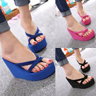 Womens Wedge Platform Flip Flops Thong High Heel Slippers Summer Sandals Beach