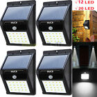 4 Pack - Solar Power Sensor Wall Light Security Motion Outdoor Lamp Waterproof