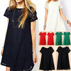 Women Casual Round Neck Short Sleeve Lace Dress Loose Hollow Dresses Hot Sale