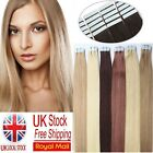 UK Delivery 7A Brazilian Remy Human Hair Extensions Tape In Skin Weft Hair 16''