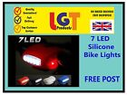 7 LED SILICONE BIKE BICYCLE CYCLE FRONT/REAR CAMPING BACKPACK SAFETY LIGHT SET.