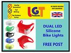DUAL LED SILICONE BIKE BICYCLE CYCLE CAMPING BACKPACK SAFETY LIGHT FREE POST!.