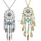 New Womens Retro Turquoise Feather Pendant Long Sweater Chain Necklace N98B
