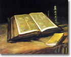HUGE Van Gogh Still Life with Bible Stretched Canvas Giclee Art Repro ALL SIZES