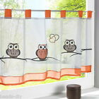 1PC Cute Owl Pattern Kitchen Door Windows Curtains Panel Embroidery Tab Top