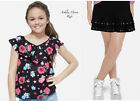 NWT JUSTICE Girls 8 Black Floral Peasant Top & Black Rocker Skirt Outfit
