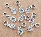 5 European Heart Charms with Rhinestones - choice of colour (CH008) FREE POSTAGE