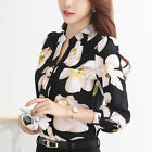 Spring Summer V-Neck Chiffon Blouse Slim Women t shirt Office Work Floral Tops