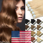 Tape In Skin Weft Brazilian Remy Human Hair Extensions US Stock 16Inch 20Pieces