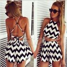 Women Elegant Short Skirts Halter Neck Crop Top Fittness Striped Suit Midi Dress