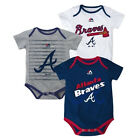 Infant Atlanta Braves Bodysuit Set of 3 Triple Play MLB Baby Creeper