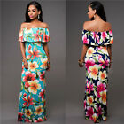 Women Off Shoulder Floral Maxi Dress Strapless Ruffles Evening Party Club Dress