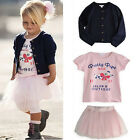 REDUCED girls funky 3piece outfit tee skirt and cardigan