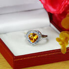 Citrine & Tanzanite 925 Sterling Silver Solitair W Accent Heart Ring (gr617)