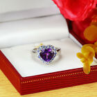 Amethst & Tanzanite 925 Sterling Silver Solitair W Accent Heart Ring (gr614)