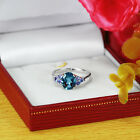Natural London & Tanzanite 925 Sterling Silver Solitair W Accent Ring (gr613)