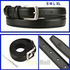 "New Men's Casual Black Dress Leather Belt W/ Buckle S M L XL 1"" Wide 30""-44"" USA"