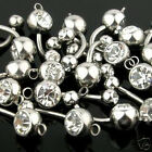 Lot of 10 Clear CZ Double Gem Add Your Own Charm Belly Navel Rings Wholesale