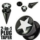 Pair Black Acrylic White Star Screw Fit Interchangeable Tapers Ear Plugs