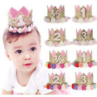 Birthday Crown Flower Tiara Headband for Baby Girls Party Ha