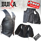 BUKA GEARS Men's Black Genuine Leather 8 Pockets Motorcycle Biker Vest M TO 6XL
