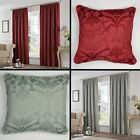 PAIR OF FULLY LINED COTTON RICH JACQUARD TAPE TOP CURTAINS SILVER CREAM BLUE RED
