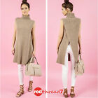 Womens Sleeveless Tunic Long Line Dress Open Back Knit Jumper Roll Neck Taupe