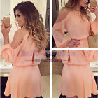2017 New Fashion Ladies Chiffon Blouse Off Shoulder Casual Tops Dress Jumpsuit