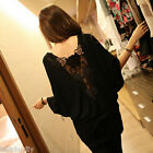 Women Lady Loose Long Sleeve Batwing Blouse Oversized Top T-shirt Jumper