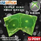 Premium Xbox Game Replacement Case Transparent Clear Green Triple Dvd Case