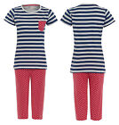 Womens New Nightwear Stripe Polka dot short sleeve top and dotted cropped bottom
