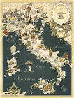 Vintage Gastronomical Wall Map of Italy Cuisine Food Regions Italian Wall Poster