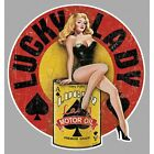 Sticker Pin up lucky lady motor oil°
