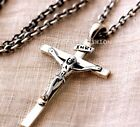 313 Men Women Sterling Silver 925 Cross Pendant Jesus Crucifix Chain Necklace