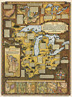 Historical Pictorial Map Old Northwest Territory IN, IL, MI, OH Wall Art Poster